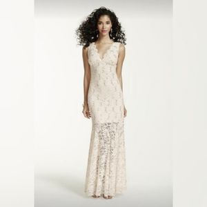 Nightway Taupe V Neck Sequin Lace Trumpet Dress 6